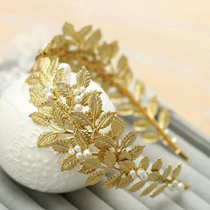 New Fashion Handmade Bride Tiara Metal Gold Leaf Hairband For Wedding Hair Accessories Women Bridal Headband Hair Jewelry