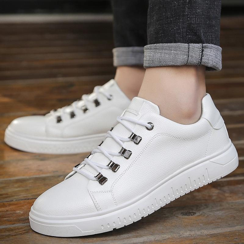 De Genuíno Hombre Adulto Moda Grande Nova Couro Dos Primavera Marca Qualidade Sapatos Homens branco Preto Tamanho Casuais cinza Alta Outono Rpnf40