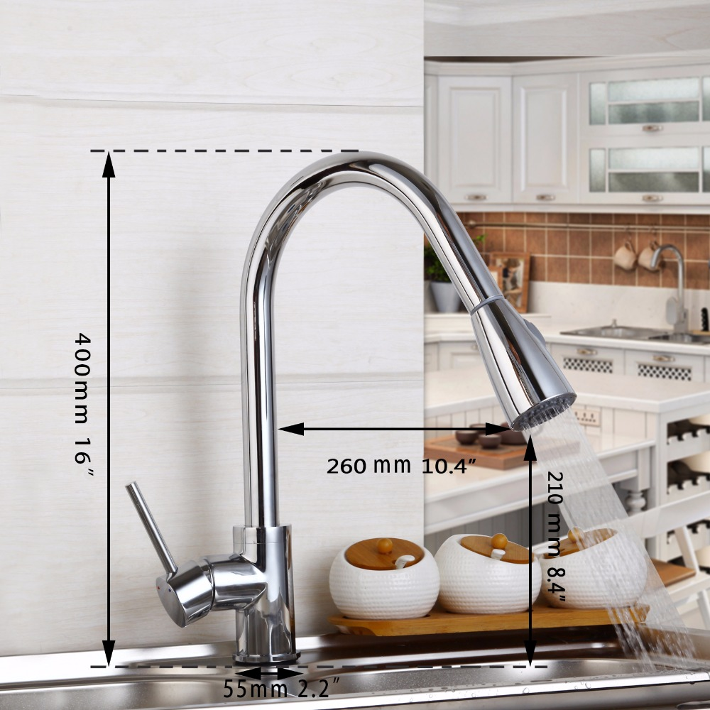 Hot Sale Wholesale And Retail Promotion NEW Pull Out Chrome Pull Out Kitchen Faucet Sink Mixer