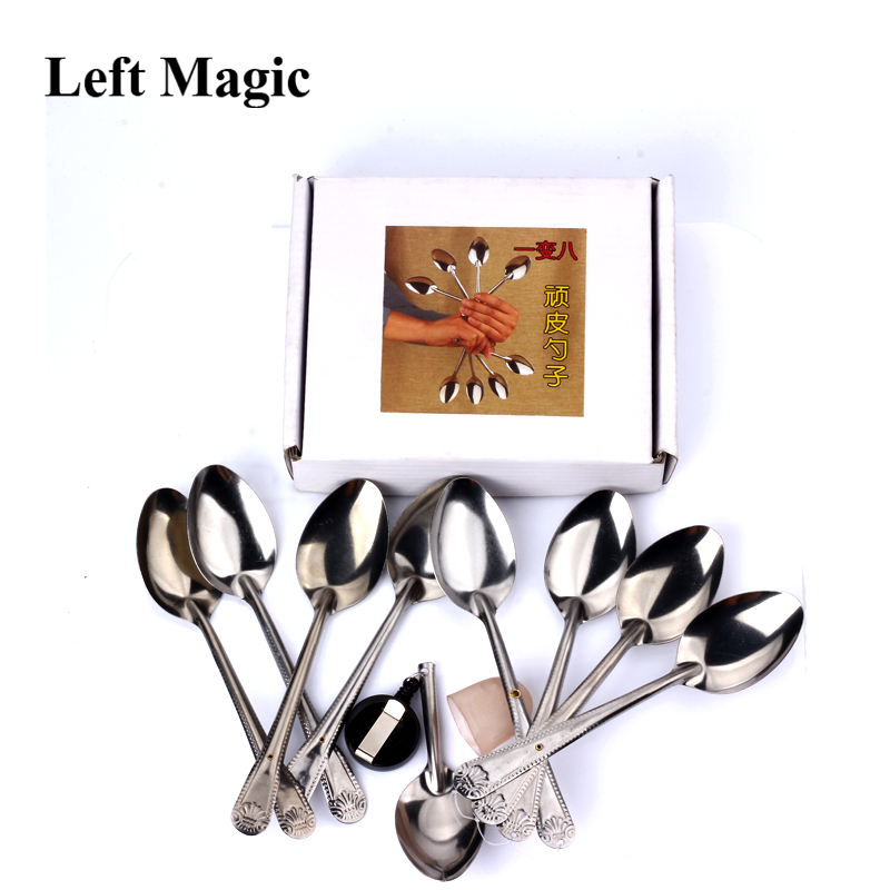 1 Set Playful Spoon Magic Tricks One To Eight Spoon Magic Prop Variable Spoon For Fun Close Up Stage Magic Professional Magician