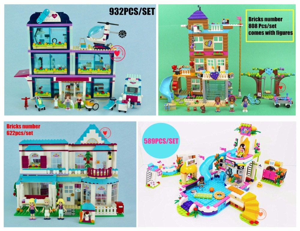 New Heartlake friends series Girls games fit legoings friends house figures city Building Block Bricks girls diy toy gifts kid bela 10166 girls friends heartlake city school building block sets assemble bricks toy compatible 41005