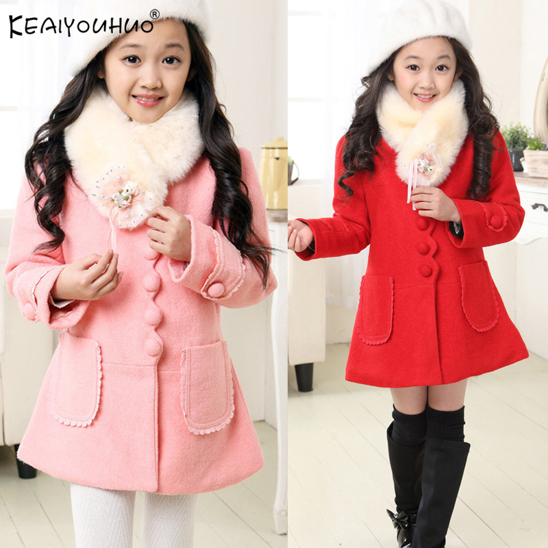 KEAIYOUHUO 2018 Winter Coats For Girls Jackets Cotton Jacket Kids Outerwear Long Style Girls Coats 3 4 5 6 7 8 9 10 11 12 Years