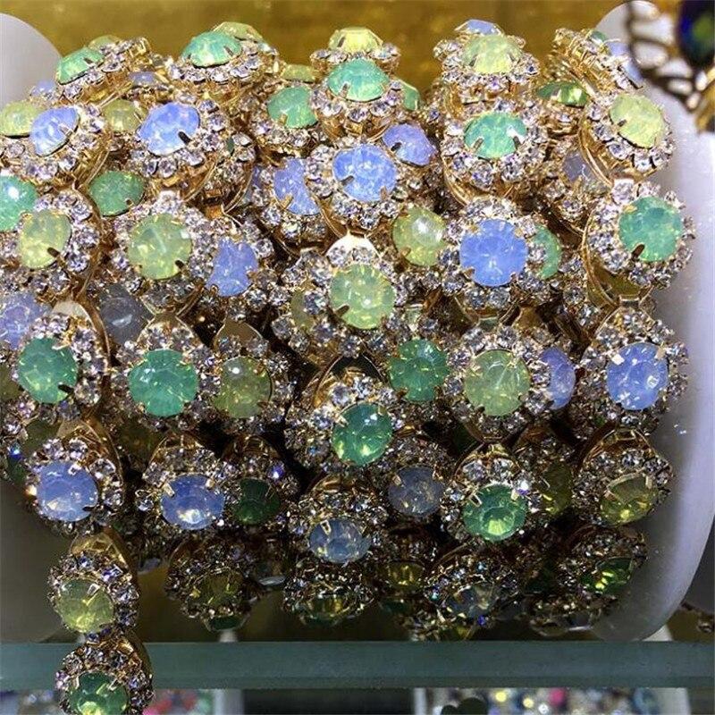 SUN 1Yard Round Flower Sew On Claw Crystal Rhinestones Chain Glass  Rhinestone For Wedding Clothing Art Decoration -in Rhinestones from Home    Garden on ... 7ce8300adbc1
