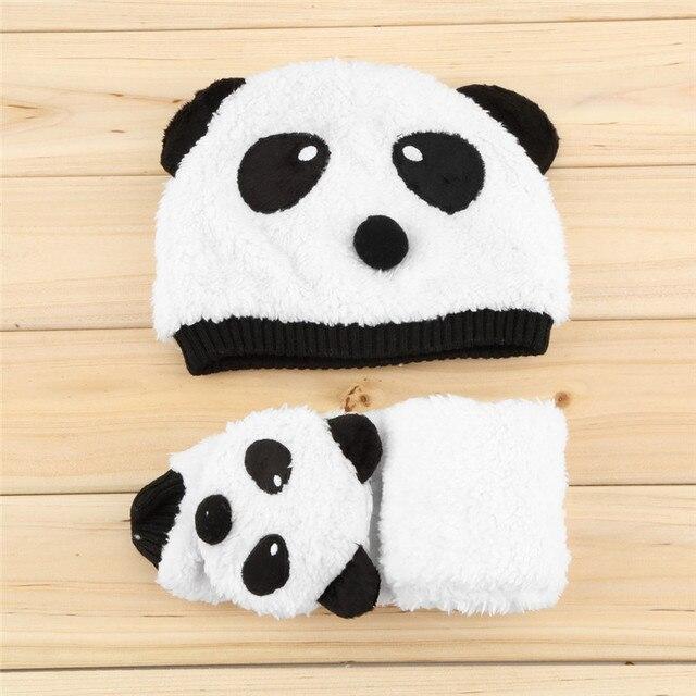 0afe064eab8 Baby Hat Scarf Warm Winter Panda Kid Child Boy Girl Wool Blend Blue White  Accessory cap Beanie Shawl One Sets Cute Animal