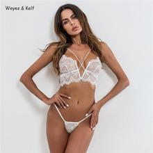 Weyes & Kelf Solid Hollow Out Bandage Lace Rompers Womens Jumpsuit 2019 V-neck Cross Strap Sexy Suit Women