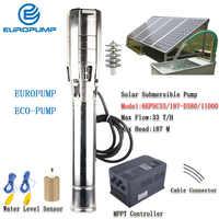 """EUROPUMP pompy solarnej 6 Cal 15HP outlet 3 """"Max podnoszenia 187 M przepływ 33000LPH DC Solar pompa wody z MPPT MODEL (6EPSC33/187-D380/11000)"""