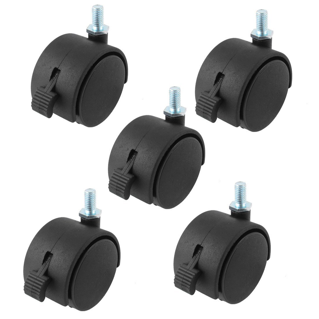 Фото 8mm Threaded Stem 5 Inch Dia Wheel Chair Swivel Caster With brake 5 Pcs Black
