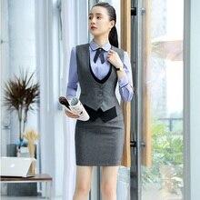 Женский комплект 2 шт. деловые костюмы с топами и юбкой для дам Офисная Рабочая одежда жилет и жилет пальто форменные стили