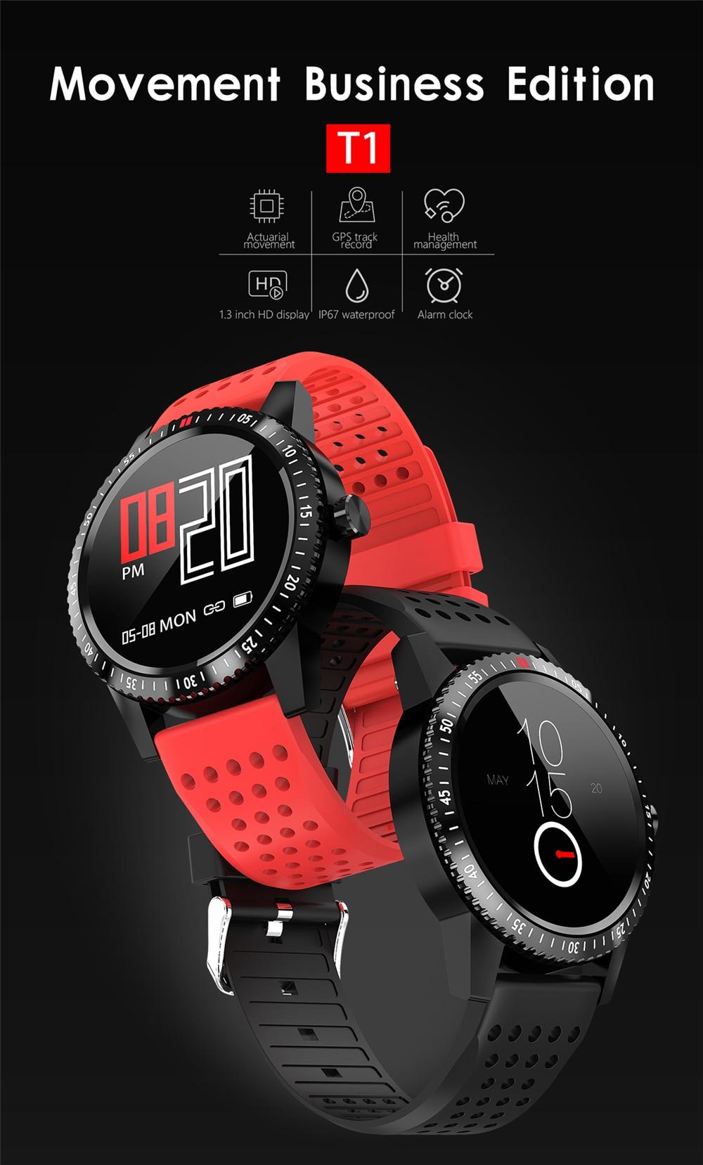 H Band T1 Smart Watch Fitness IP67 Waterproof Blood Pressure GPS Sport  Fitness Tracker Heart Rate Smartwatch For Man Women