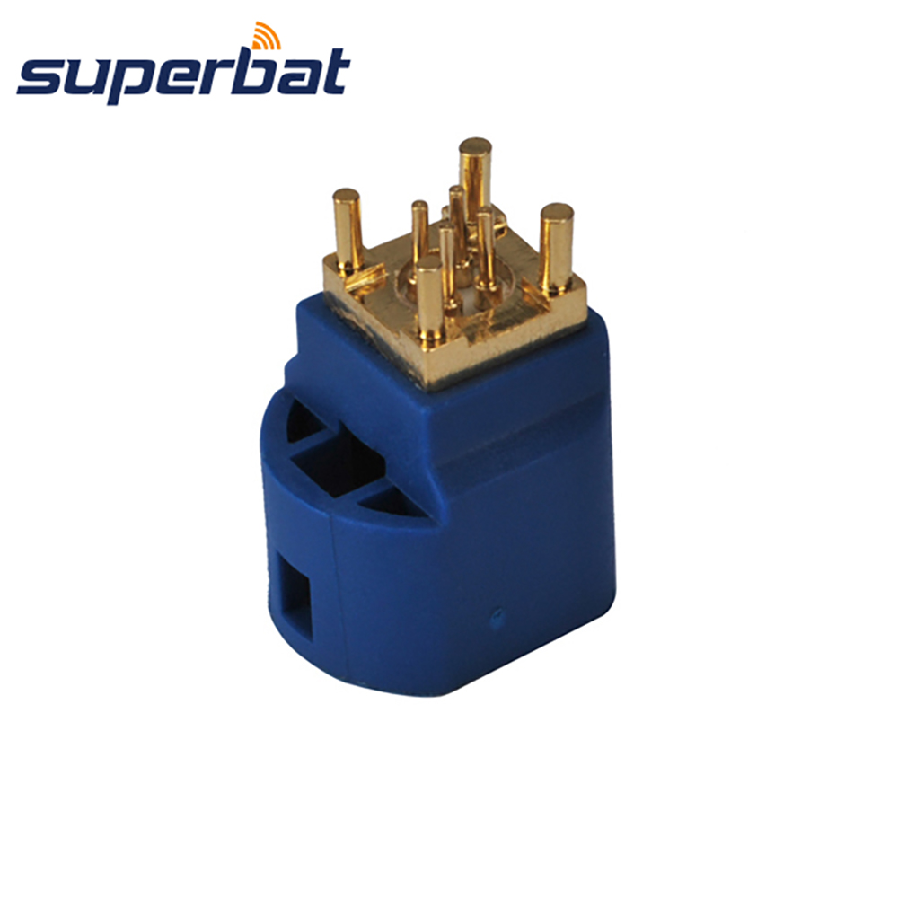 Superbat Fakra C Female Jack PCB Mount Straight 4 Contact Pin Connector For Blue GPS Telematics Or Navigation