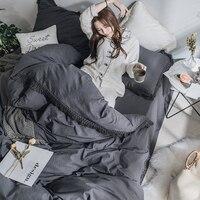 Постельное белье из хлопка принцессы с бахромой постельного белья класса люкс с бахромой пододеяльник современный одеяла лист покрывало п