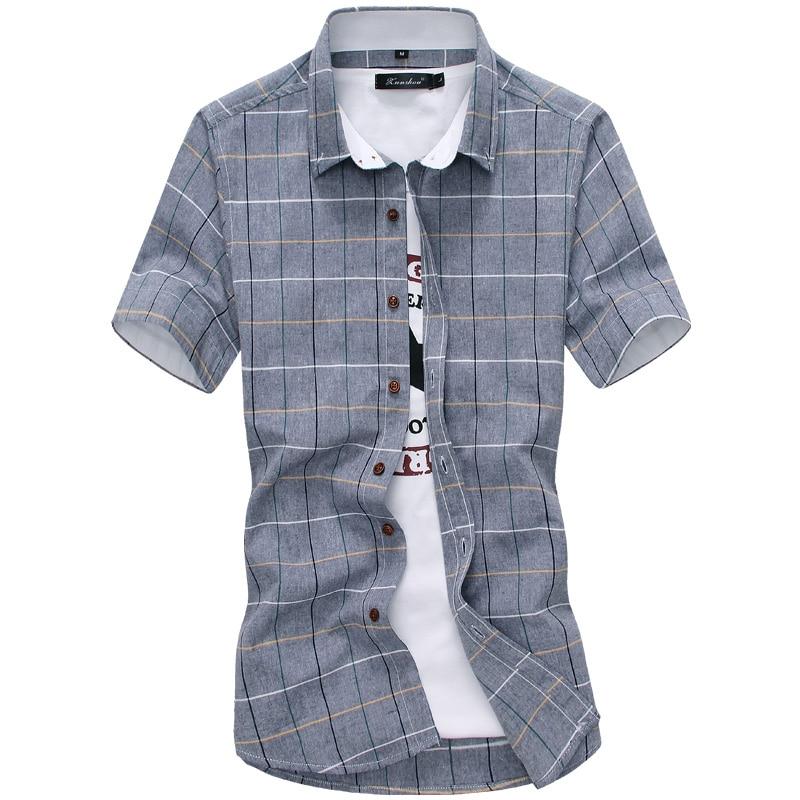 2020 New Plaid Shirts Men Fashion 100% Cotton Short Sleeved Summer Casual Men Shirt  Camisa Masculina Mens Dress Shirts