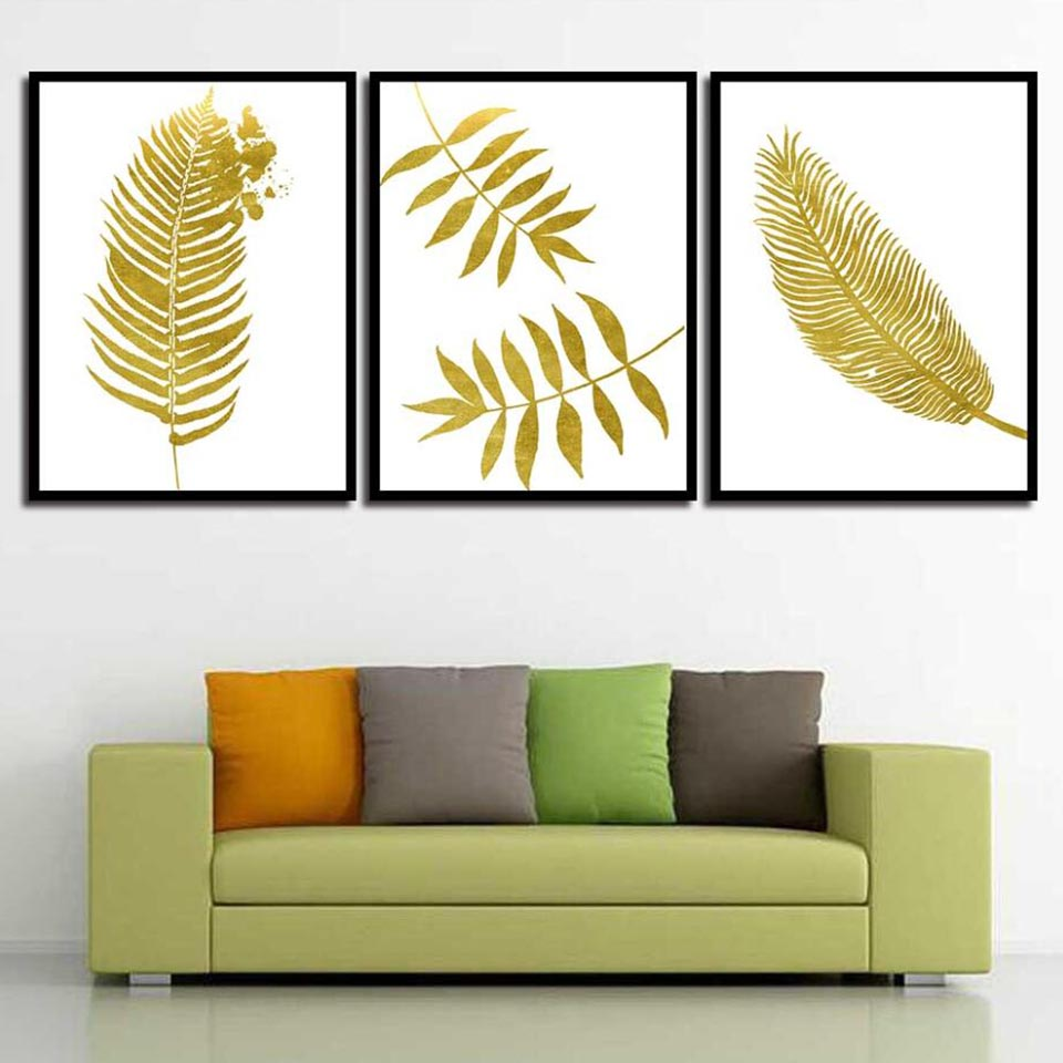 Wall Art Printed Creative Gold Leaves Different Shapes Canvas Painting Decoration For Living Room Nordic Style Minimalism Poster
