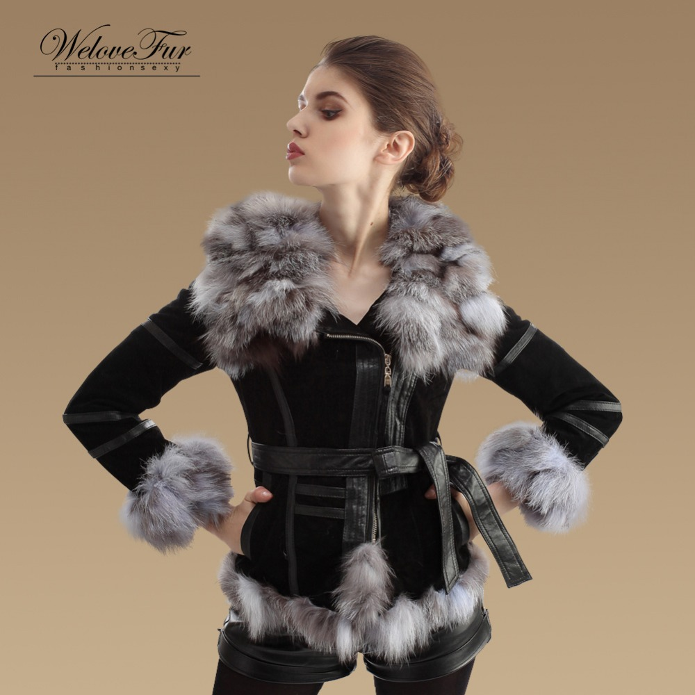 83d2451f1bdb7 Genuine Pig Leather Coat Women Winter Fox Fur Collar Jackets Outwear  Fashion Warm Fur Garment-in Fur   Faux Fur from Women s Clothing    Accessories