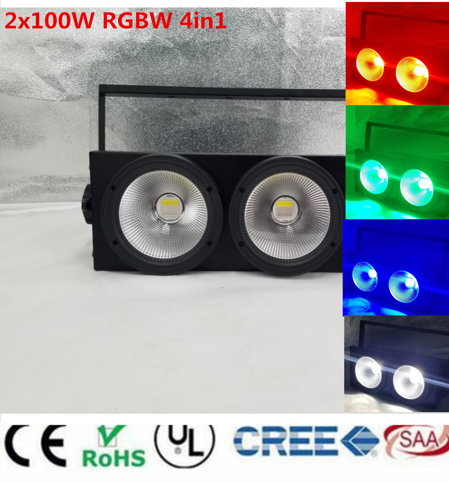 NEW Led Blinder light 200W RGBW COB 2eyes 2x100w LED Warm White White rgbw 4in1 led 200W DMX LED COB 200W LED par light show plaza light stage blinder auditoria light ww plus cw 2in1 cob lamp 200w spliced type for stage
