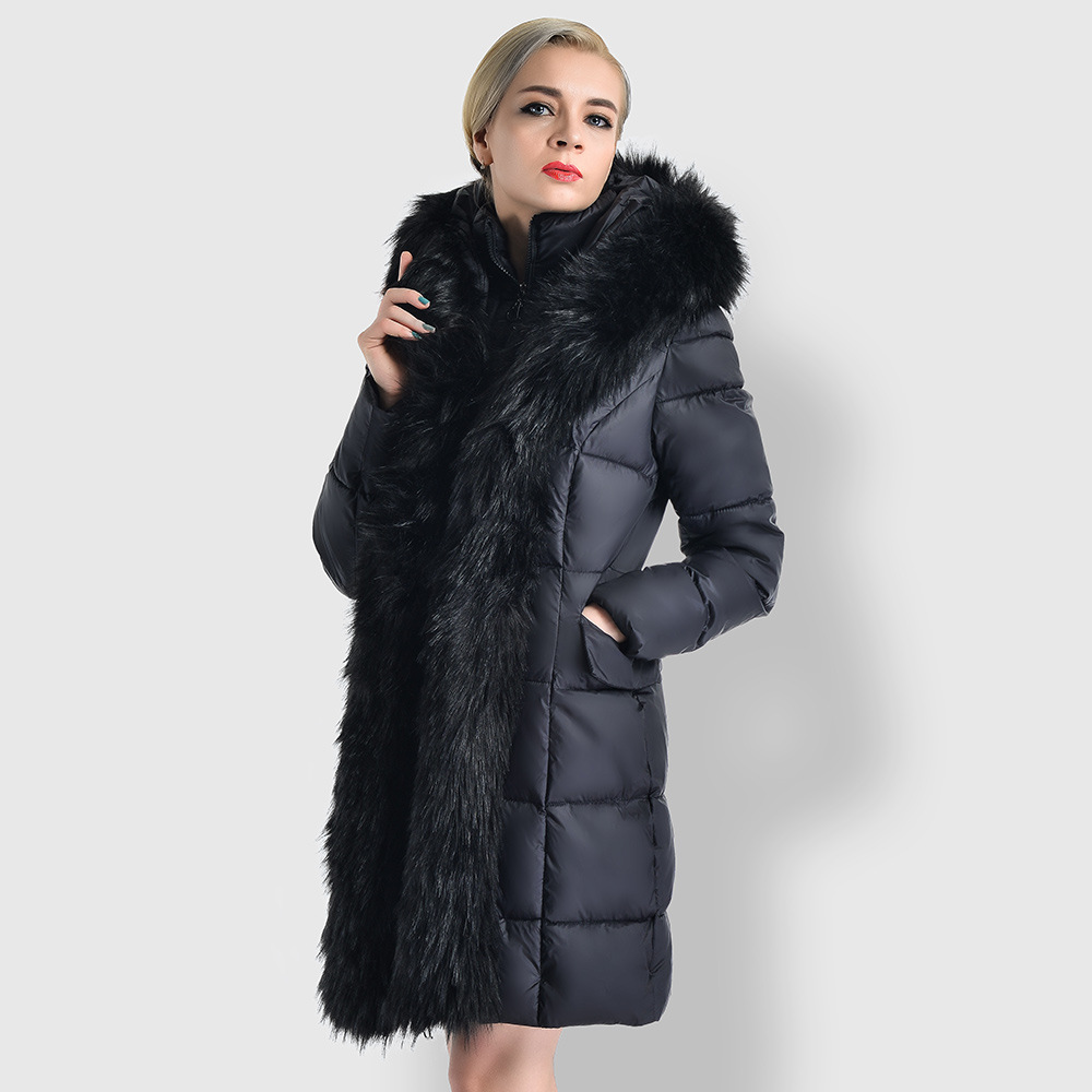74771ff91a8236 Mid Große Lose Black Winter Verdicken Oberbekleidung lange khaki Warme  Cw005 gray Jacke Parkas Pelz Kapuze Größe Frauen Baumwolle ...