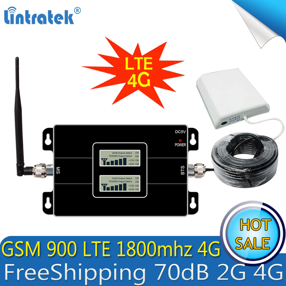 Lintratek GSM 900 4G LTE 1800 Répéteur GSM 1800 mhz Mobile Signal Booster 65dB Double Bande Repetidor Celular