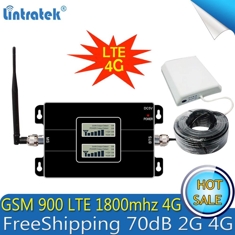 Lintratek GSM 900 4g LTE 1800 Repeater GSM 1800 mhz Handy Signal Booster 65dB Dual Band Repetidor Celular