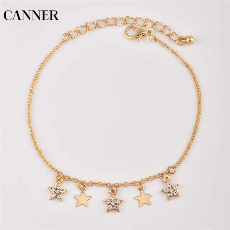 Canner złoty kryształ Pentagram gwiazdy łańcuch czarny koralik monety wisiorek wielowarstwowe bransoletka na kostkę kobiety dziewczyna biżuteria