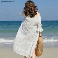 Bohemian Tops Summer Beach Sun-proof Cover Up Seven Flare Sleeve Embroidery Long Chiffon Cardigan Women boho kimono