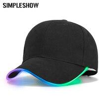 Модный светодиодный легкий бейсболка для женщин, мужской светодиодный головной убор, Брендовая женская бейсболка для мальчиков, облегающая шапка светится в темноте, s