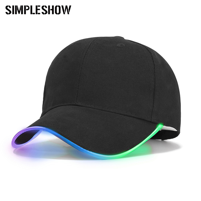 Fashion LED Light Baseball Cap For Women Man LED Hat Brand Female Baseball Cap  Women Boys Fitted Hats Glow In The Dark Caps 86898377a4c