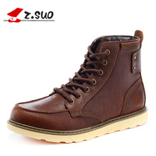 Real Leather Men Military Boots Ankle Martins Men's Casual Walking Work Shoes Brand Designer Stylish Leisure High-top Flats 2016