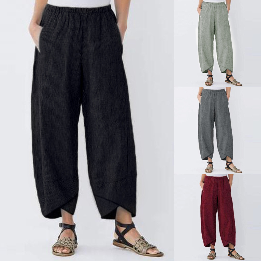 Linen Pants Trousers Elastic-Waist Loose Casual New-Fashion Joggingbroek Solid -By35