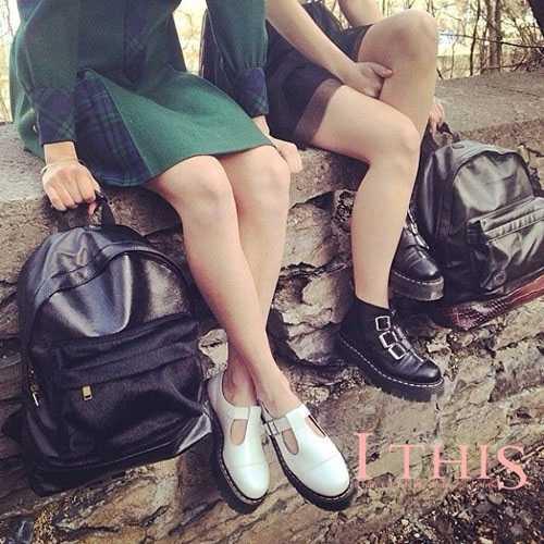 XingDeng bayan Vintage kemer toka şövalye çizmeler kadın İngiliz tarzı Punk Martin çizmeler kız moda fermuar platformu ayak bileği ayakkabı