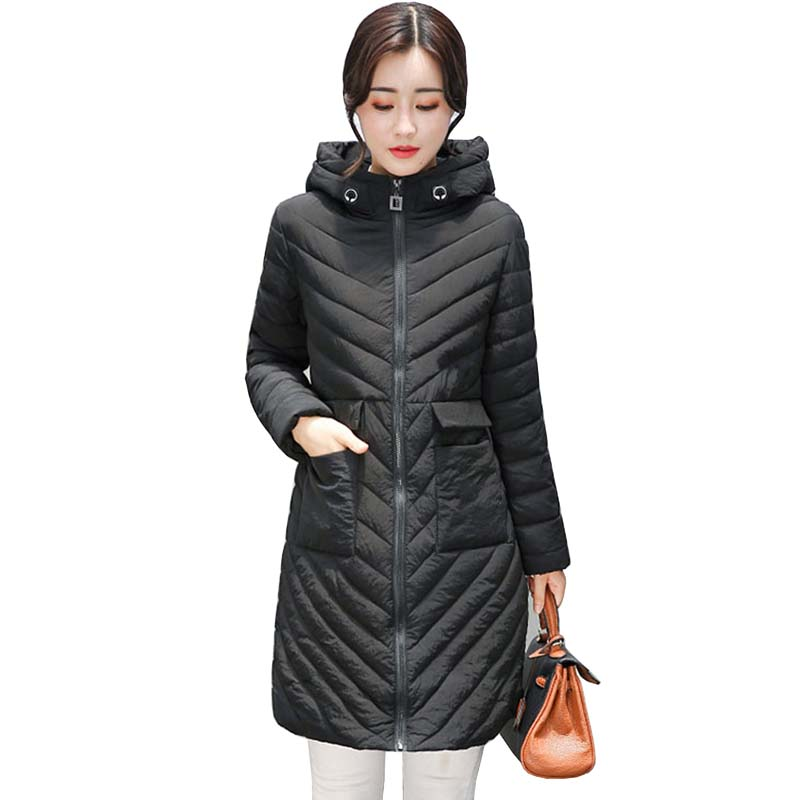 2017 women Winter jacket new lady park long female jacket Solid color coat high quality warm Women's winter   Parkas   coats 5L41