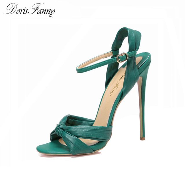 DorisFanny green black high heels sandals women 2018 SEXY summer shoes  ankle strap wedding party shoes big size 9 10 43 f123e5c510d9