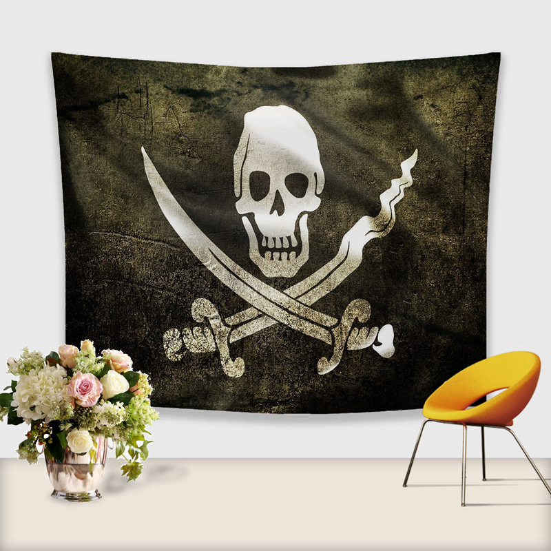 Image 3 - 3D Skull Tapestry Polyester Wall Hanging Gobelin Painting Pattern Beach Picnic Yoga Rug Mat Home Decor Crafts-in Tapestry from Home & Garden