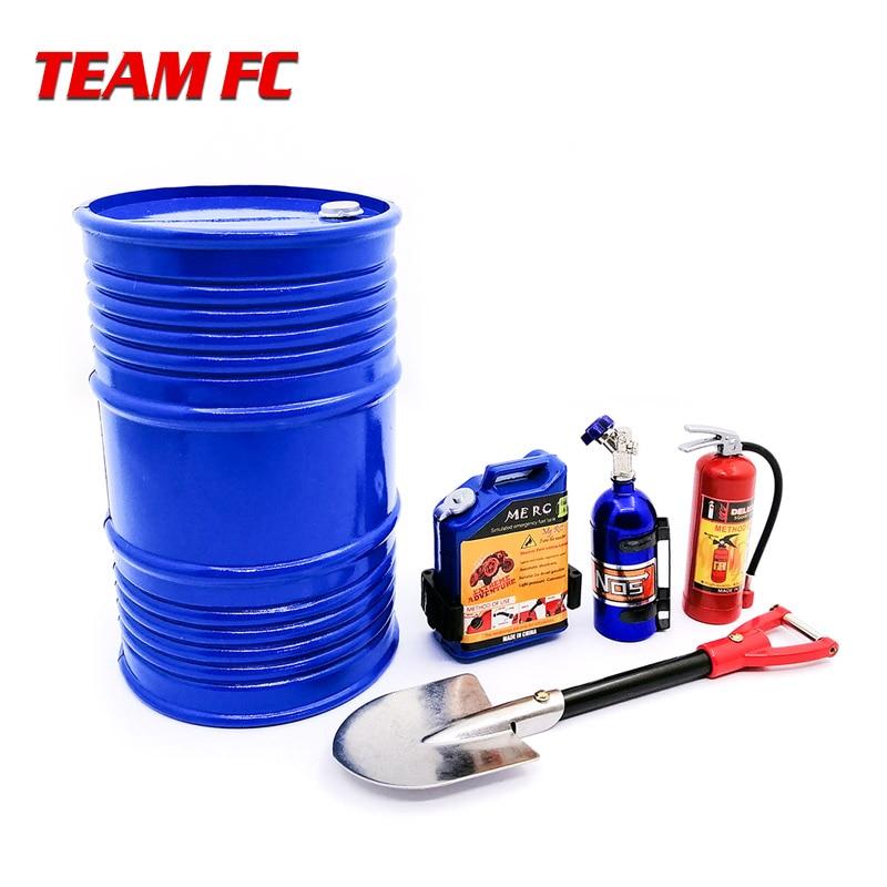 1 set/5 pcs pá de Metal Decoração tanque de Combustível tambor de óleo do tanque de nitrogênio extintor de incêndio para 1:10 RC Rocha carro TRX4 Axial SCX10 S275