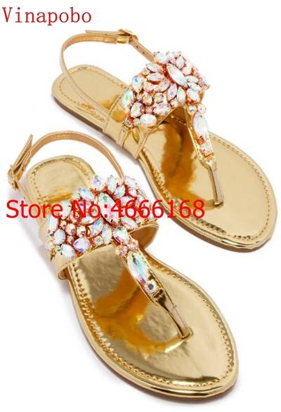 US $33.31 |2019 kobieta przezroczyste sandały damskie buty dżetów Gladiator sandały na płaskim obcasie kryształ Chaussure złoty klapki japonki Plus