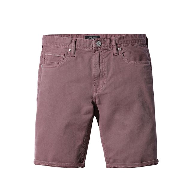 Men's Summer Shorts Washed Purple Red Fashion Slim Fit