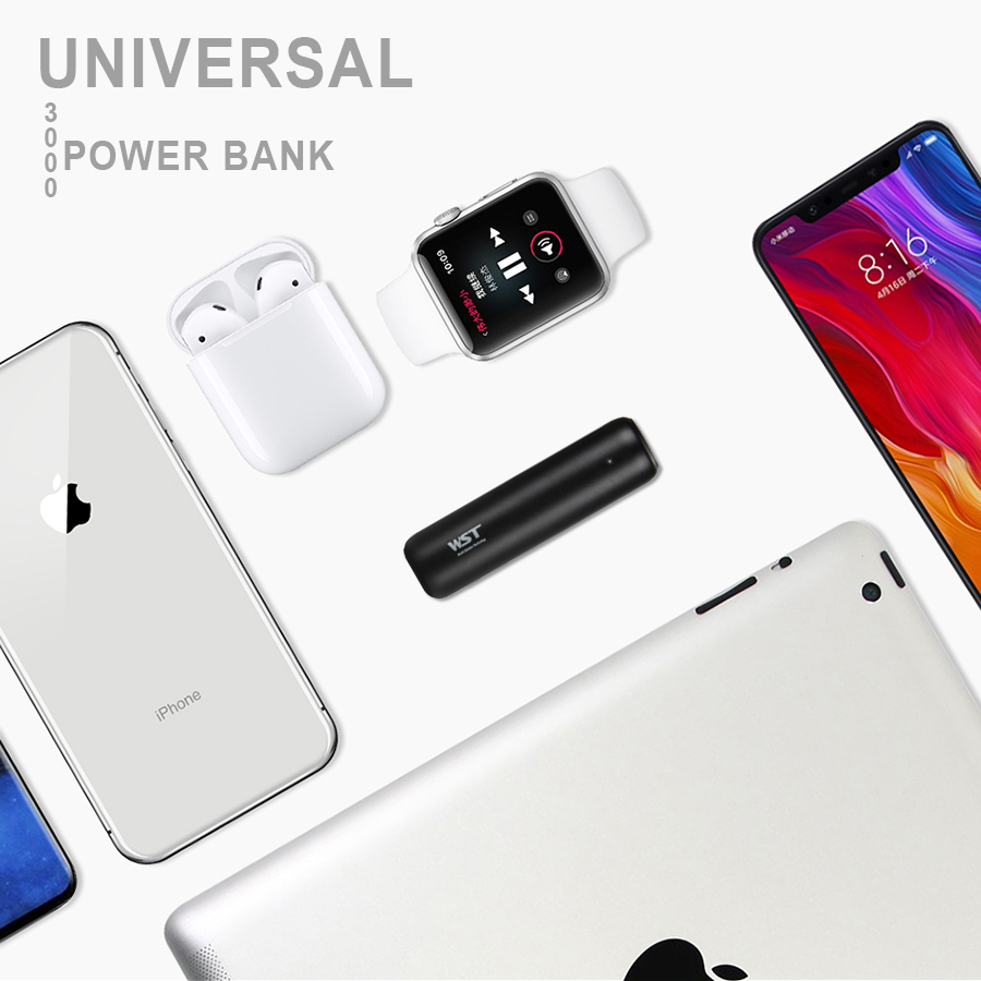 WST Portable Power Banks PoverBank Battery Pack Mobile External Battery Power Bank For iPhone 7 Samsung Phone 3000mAh Powerbank in Power Bank from Cellphones Telecommunications