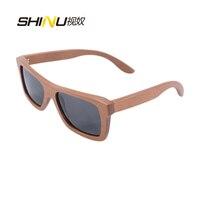 Vente chaude 100% pure fait main carré cadre en bois lunettes de soleil polarisées lentille prix de gros de bonne qualité 6009