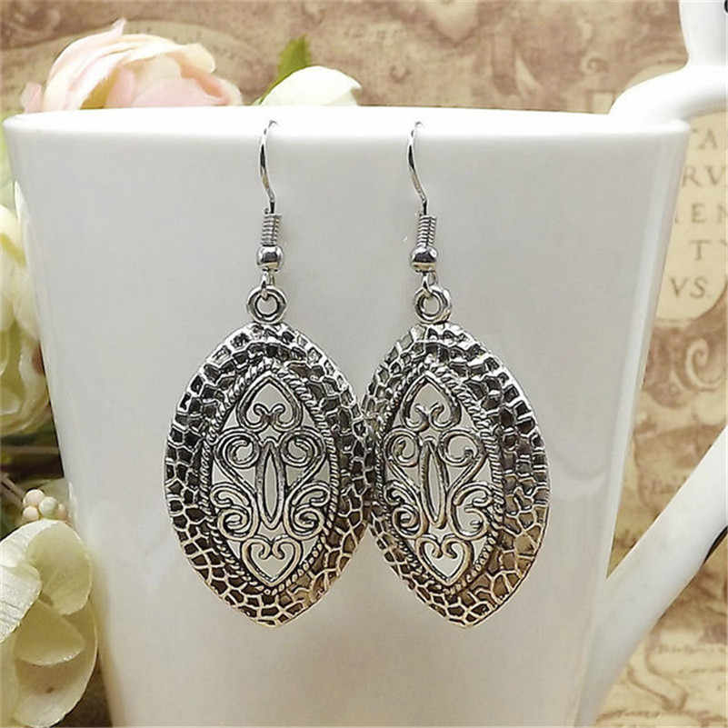Lusion Jewelry Vintage Tibetan Sliver Hollow carving Drop Earring For Woman Retro Long Cheap Earrings Bohemian Accessories Femme