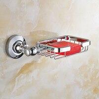Copper Glass Soap Dish Single Box Bathroom Hardware Hang Rack Chrome Finish