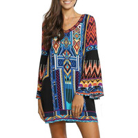 Boho design casual aztekenmuster gypsy maxi dress muster langarm v-ausschnitt mini dressmhd060