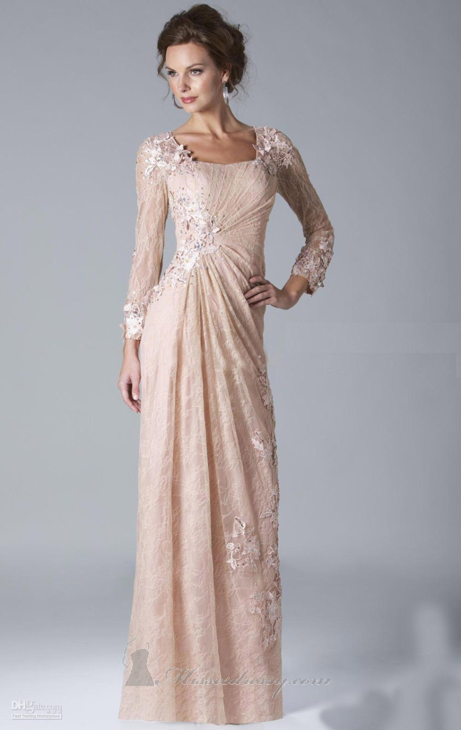 2017 Sexy Chiffon Lace Evening Dresses Long Sleeves Prom Gowns Plus