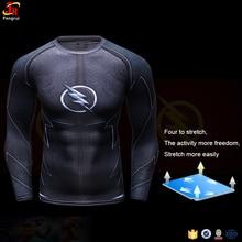 The Flash DC Comics Raglan Long Sleeve Compression Shirts Men Printed Training Gym T Shirt Superhero Exercise Tee For Workout