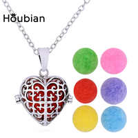 Houbian Heart-Shaped Hollow Essential Oil Pendant Necklace Women'S Open Heart-Shaped Locket Necklace Accessory