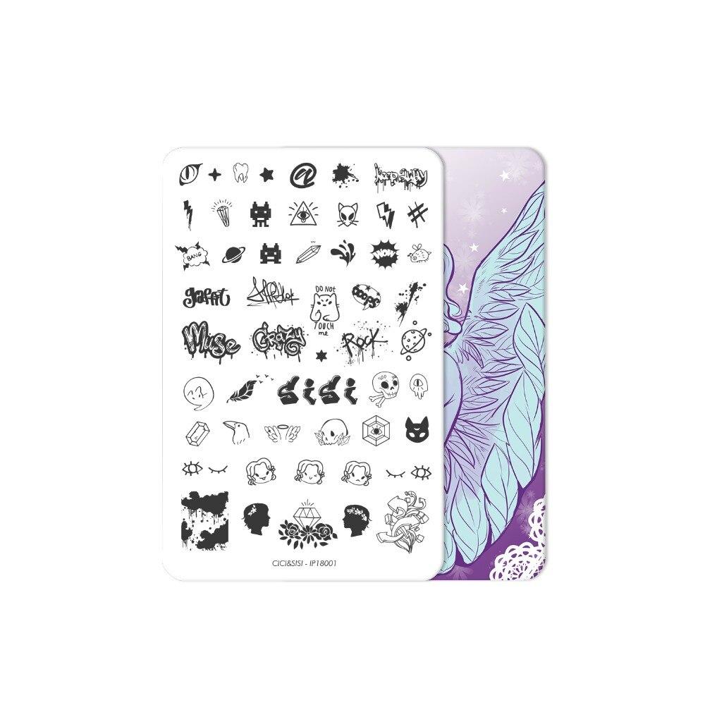 CICI & SISI Flor del cordón estilo Nail Art estampado placas ...