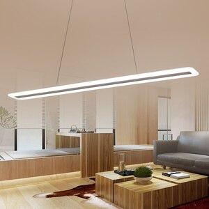 Image 2 - L40 120cm Modern mutfak için asılı lamba yemek oturma odası led kolye ışıkları Metal + akrilik sarkıt lamba süspansiyon armatür