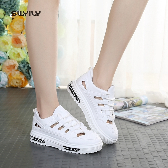 SWYIVY Woman Sandals White Shoes Sneakers Summer 2018 Female Casual Shoes  Hallow Breathable Lacing Flower Woman Sandals 40 Size ab14c297d4c7