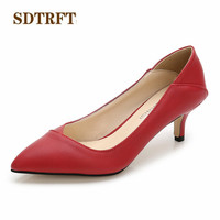 SDTRFT Spring Autumn Casual stilettos 5cm thin heels wedding shoes woman Pointed Toe Hollow out OL work pumps Plus:36 44 45