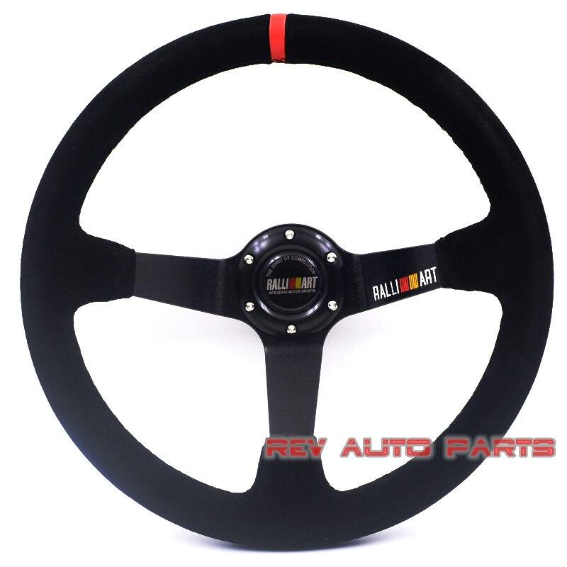 350mm Suede Leather Ralliart Racing Car Rally Steering Wheel