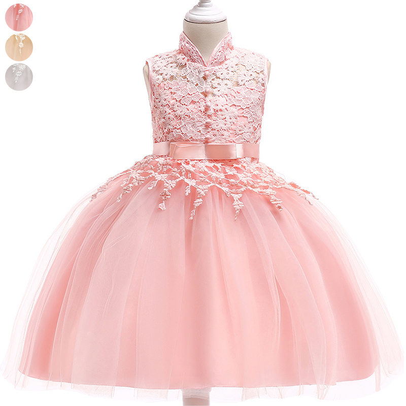 Summer Sweet Girl Princess Dresses Children Lace Birthday Wedding Tulle Dress YH 17