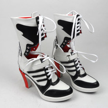 3f06356664ecf7 suicide squad harley quinn boots bota accessories black women Halloween  Cosplay Boots Shoes